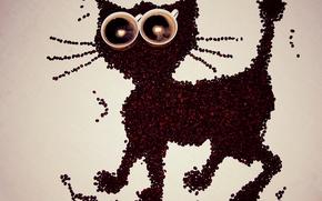 Картинка кошка, креатив, фон, кофе, зерна, чашки, композиция
