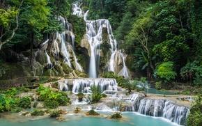 Картинка Laos, камни, водопад, Kuang Si Waterfall, деревья, скалы, лес