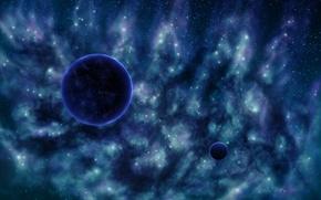 Картинка звезды, туманность, вселенная, планета