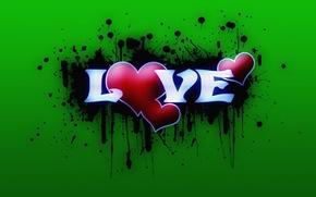 Обои love, зеленый, любовь