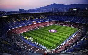 Картинка Вечер, Поле, Футбол, Барселона, Стадион, Camp Nou, Камп Ноу