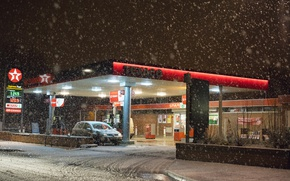 Картинка cars, winter, snowing, gas station, Texaco, gas pump