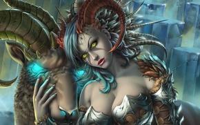 Картинка грудь, девушка, демон, арт, рога, succubus, taiya