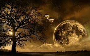 Обои восход, солнце, земля, ночь