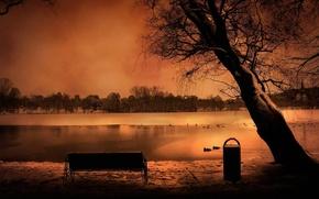 Картинка небо, пейзаж, скамейка, романтика, вечер, лавка, water, rivers, tree, romantic