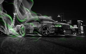Обои Смок, Green, Дрифт, HD Wallpapers, Город, Art, Тойота, Drift, Неон, Car, 2014, Авто, Прозрачная, Тони ...