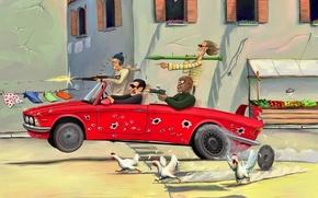 Обои оружие, курицы, окна, бандиты, улица, рисунок, мужики, машина, юмор, погоня
