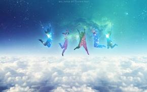 Картинка Clouds, Stars, Space, Blue, Galaxy, Jumping