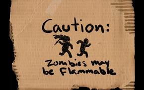 Картинка предупреждение, зомби, flammable, may be, caution, zombies, картон