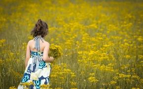 Картинка поле, цветы, дети, фон, widescreen, обои, настроения, ребенок, платье, брюнетка, девочка, wallpaper, цветочки, flower, широкоформатные, ...