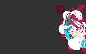 Картинка девушка, серый, аниме, розовые волосы, пустой фон