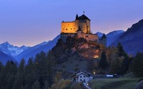 Картинка замок, вечер, холм, Switzerland, Engadin, Tarasp Castle