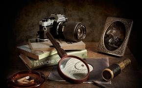 Картинка книги, портрет, лупа, фотокамера, детективы, Watching The Detectives
