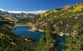 Картинка лес, горы, природа, озеро, Lake San Cristobal, San Juan Mountains