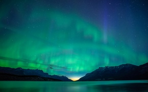 Обои горы, Эйбрахам, Абрахам, озеро, Альберта, ночь, сияния, Канада, звезды