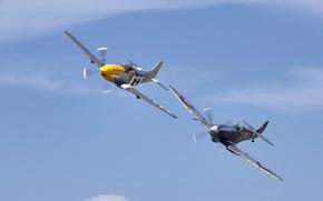 Обои небо, самолёты, P51 Mustang