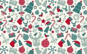 Картинка Новый год, текстура, шар, свеча, конфета, олень, ёлка, фон, подарок, праздник, снежинка