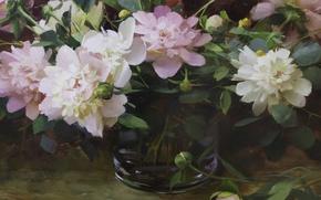 Картинка цветы, розовое, натюрморт, пионы, Hagop Keledjian