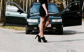 Картинка 2110, Lada, девушка, машина, ВАЗ, ножки