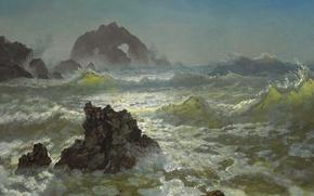 Обои шторм, скалы, картина, морской пейзаж, Альберт Бирштадт, Сил Рокс. Калифорния