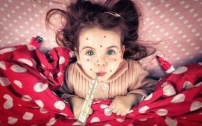 Картинка девочка, веснушки, градусник