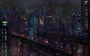 Картинка дороги, небоскребы, ночь, будущее, арт, фантастика, город
