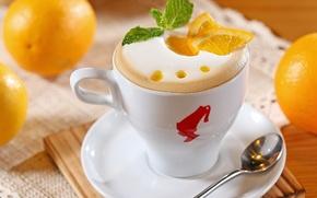 Картинка пена, кофе, апельсины, молоко, ложка, чашка, белая, кусочки, фрукты, капучино, цитрусы, блюдце