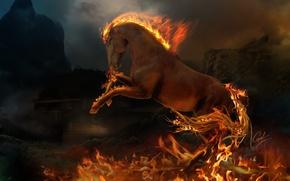 Обои пламя, животное, конь, огонь