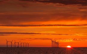 Картинка море, небо, солнце, облака, закат, ветряная мельница