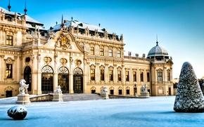 Картинка зима, снег, Австрия, архитектура, дворец, Вена, Wien Belvedere