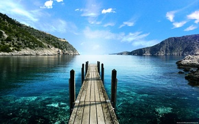 мостик,море,горы,небо,озеро,камни обои