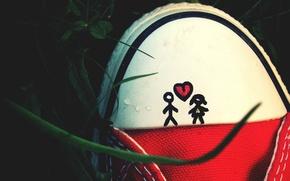 Картинка любовь, настроение, романтика, сердце, love, heart, mood, romance, shoe, обуви, рисунок мальчика и девочка, drawing …