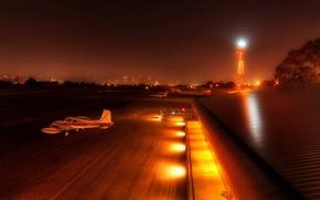 Картинка Вечер, Город, Аэропорт