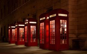 Картинка city, lights, wall, photo, night, London, England, Great Britain, United Kingdom, phone booth, UK, telephone …