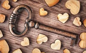 Картинка love, heart, wood, key, romantic