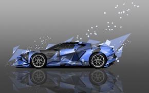 Картинка Цвет, Авто, Дизайн, Синий, Lamborghini, Машина, Стиль, Синяя, Обои, Голубой, Осколки, Арт, Art, Абстракт, Auto, ...