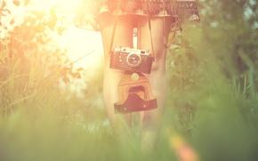 Картинка трава, девушка, солнце, ноги, платье, фотоаппарат, блик, фотик