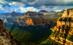 Картинка свет, горы, скалы, каньон