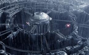 Картинка city, labyrinth, spaceships, towers