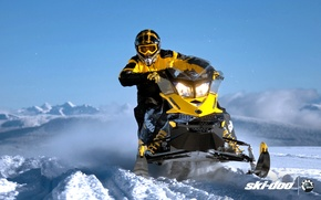 Картинка снег, жёлтый, спорт, sport, snow, снегоход, 800, snowmobile, ski-doo, mxz, brp, skidoo