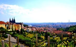 Обои лето, пейзаж, мост, природа, город, река, дома, панорама, архитектура, старинный, костел, деревья., Praga, Чехия Прага
