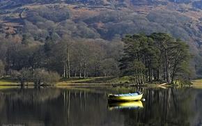 Картинка деревья, озеро, лодка