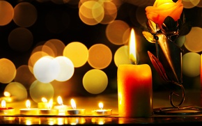 Картинка свечи, огоньки, боке