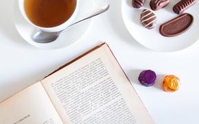 Картинка Чехов, конфеты, настроение, книга, чай