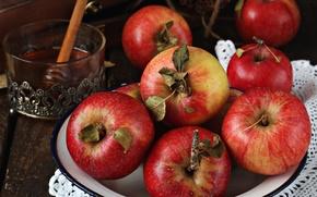 Обои яблоки, мед, фрукты