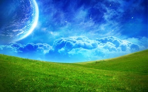 Картинка поле, облака, синий, зеленый, планета