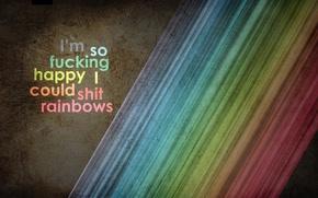 Картинка цвета, радуга, наднись, Яркие
