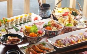 Картинка блюда, ассорти, овощи, китайская кухня, икра, креветки, морепродукты, суши