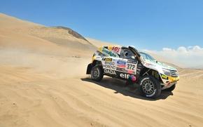 Картинка Песок, Авто, Спорт, Пустыня, Машина, Скорость, Гонка, Renault, Rally, Dakar, Внедорожник, Ралли, Вид сбоку, 372