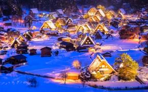 Обои огни, иллюминация, Новый Год, снег, зима, Рождество, рождественская деревня